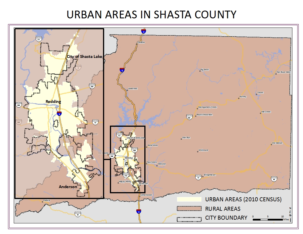 Urban areas in Shasta County