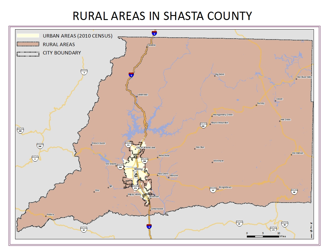 Rural areas in Shasta County