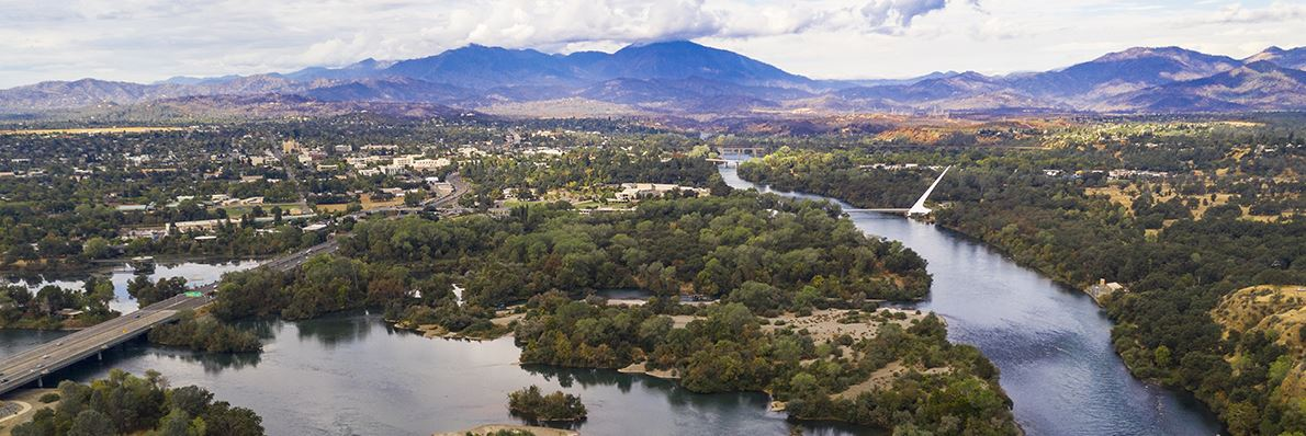 Looking west at Redding from above the Sacramento River
